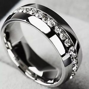 Men's Stainless Steel Crystal Wedding Band Size 10
